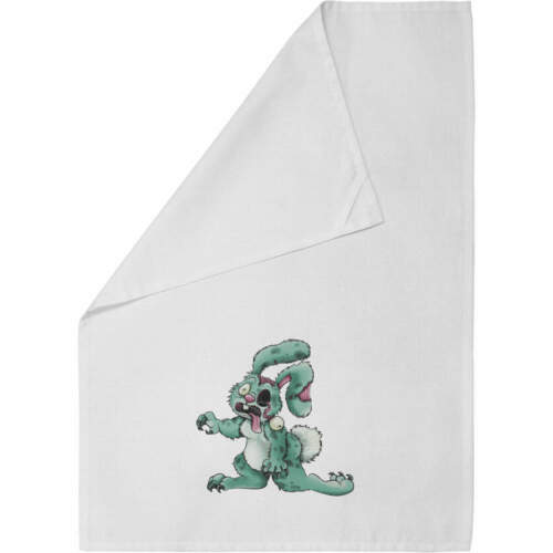 /'Zombie Bunny/' Cotton Tea Towel Dish Cloth TW00009494