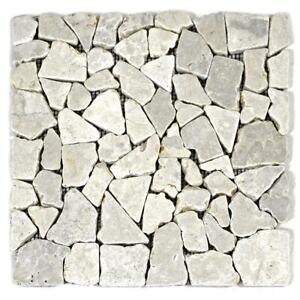 DIVERO-1-Fliesenmatte-Mosaikfliesen-Marmor-Naturstein-weiss-hellgrau-30-x-30-cm