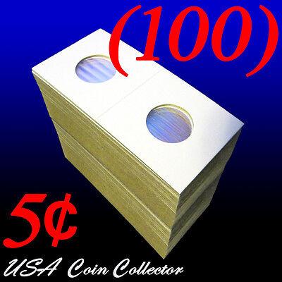 Nickel Size 2x2 Mylar Cardboard Coin Flips Storage5 Cent Paper Holders 100