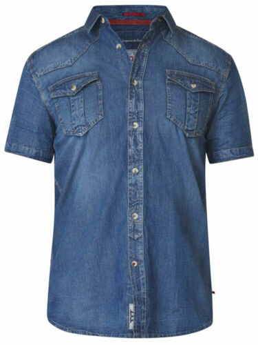 D555 DUKE KINGSIZE BIG MENS DENIM SHIRT LIGHTWEIGHT 2XL 3XL 4XL 5XL 6XL KS10115