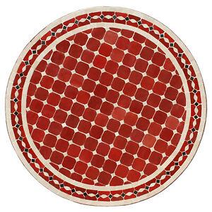 Détails sur Teeisch de Maroc avec Mosaïque Pierres Table Jardin Sitouna  D80cm Bordeaux/Beige