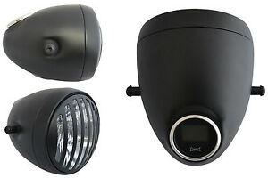Faro-amp-Velocimetro-Digital-integrado-GPS-Negro-Estilo-Vintage-5-3-4-034-de-prision