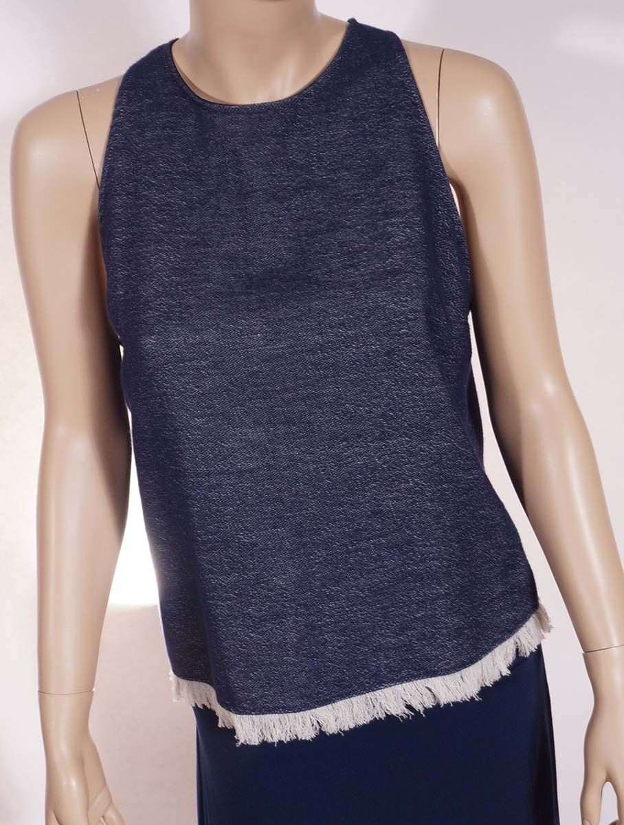 DREW DF11570 Womens Navy Midnight Fringe Sleeveless Tank Top Shirt Blouse L