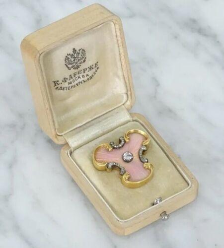 Antique Russian Faberge Gold Diamond Enamel Brooch