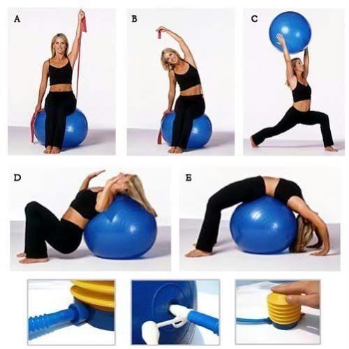 Physio balance yoga fitness  gym exercise aerobic ball inflatable with pump 95cm