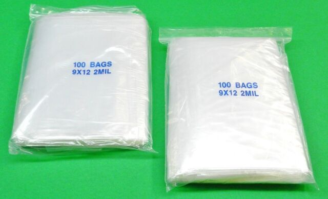 "200 Ziplock Bags Resealable 9"" x 12"" Clear 2 mil Poly Recloseable Zip Lock Bags"