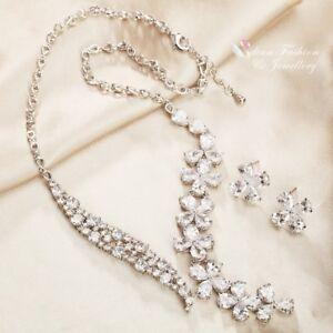 18K-White-Gold-Filled-AAA-Grade-Cubic-Zirconia-Elegant-Flower-Wedding-Set