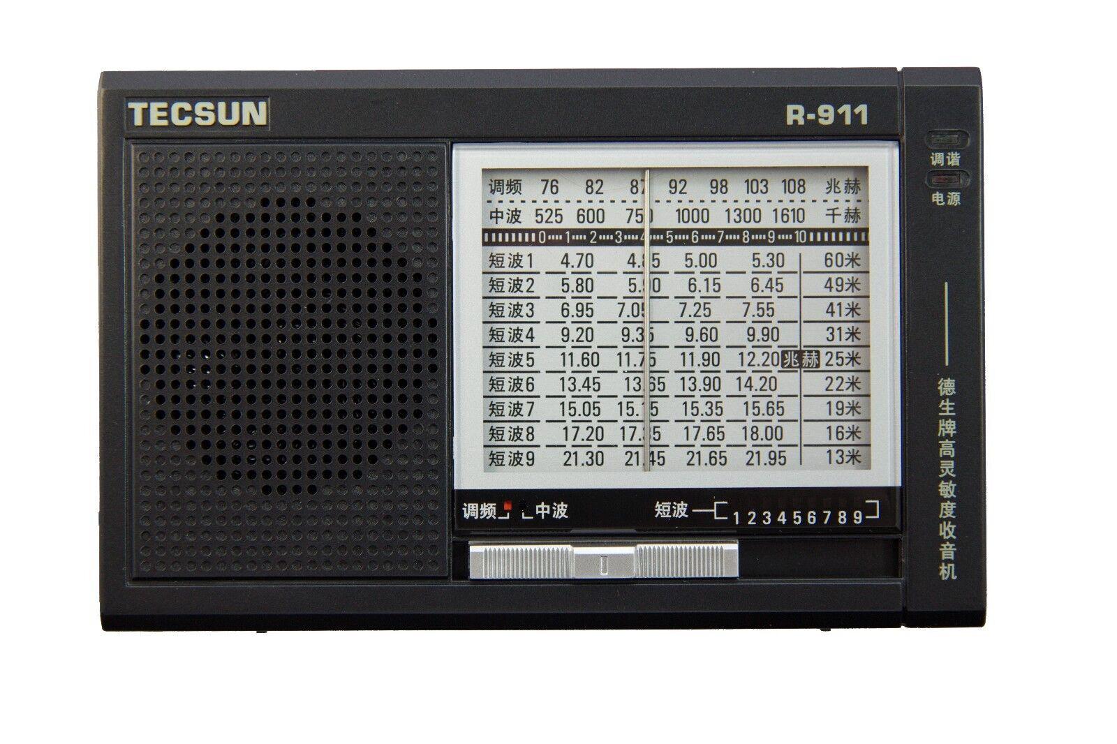 TECSUN R-911 Multi-Bands Radio Receiver FM/MW/SW 1-9 **English ...