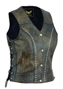 Distressed-Leather-waistcoat-women-motorcycle-biker-vest