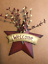8-034-Country-Burgundy-WELCOME-Metal-Barn-STAR-pip-berries-berry-Decor-Sign thumbnail 1