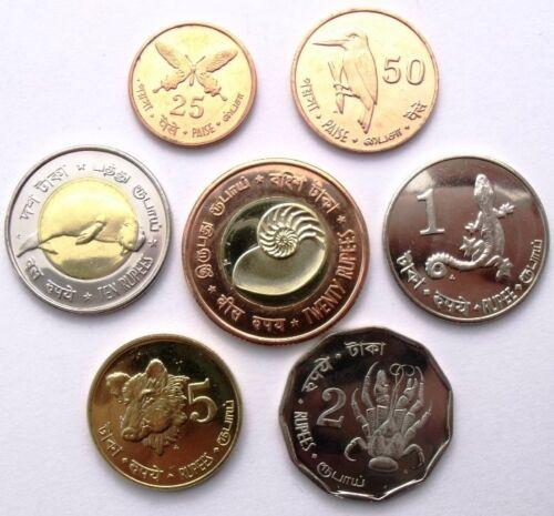 INDIA 7 COINS SET 25 PAISA 20 RUPEES 2011 ANIMALS ANDAMAN /& NICOBAR ISLANDS