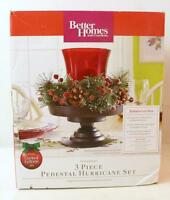 Holiday Decor Christmas Candle Centerpiece Red Glass Hurricane Evergreen Wreath