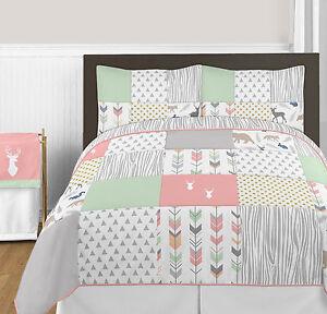 sweet jojo coral mint gray gold dot deer girl kid queen full size bedding set. Black Bedroom Furniture Sets. Home Design Ideas