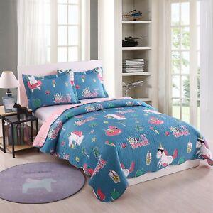 Kids-Bedspread-Quilts-Set-Throw-Blanket-for-Teens-Boys-Girls-Bedding-A10-Unicorn