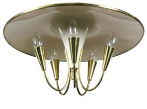 Messing-Fontaine-Decken-Lampe-Licht-Spiel-Trompeten-Leuchte-50er-Jahre-vintage