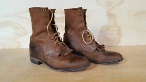 Justin-Womens-Roper-Western-Boots-size-7B-Brown-Worn-in