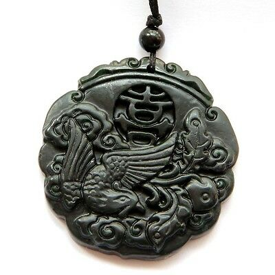 Black Green Jade Happy Lucky Phoenix Word XI Amulet Pendant