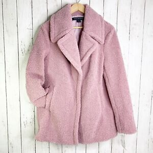 NWT-French-Connection-Large-L-Faux-Shearling-Dusty-Rose-Teddy-Coat-Retail-180