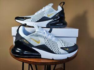 Nike Air Max 270 White Metallic Gold Black AV7892 100 Men's Size 9.5, 10