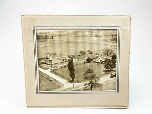 Vintage black and white areal photo of an old farm homestead