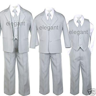 Infant Boy Toddler Teen Formal Wedding Party Recital Tuxedo Suit Silver sz S-20