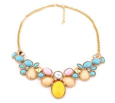New Fashion Elegant Charm Colorful Resin Crystal Elegant Flower Bib Necklace