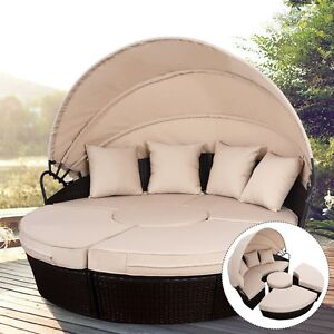 Outdoor Retractable Rattan Patio Sofa Bed Furniture Set Round Canopy