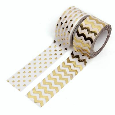 Little B Heart and Chevron Gold Washi Tape Bundle 2 Sticky Adhesive Roll Craft