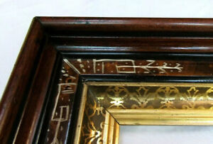 """Antique Fits 8"""" x 10"""" Eastlake Gold Gilt Walnut Picture Frame Country Victorian"""