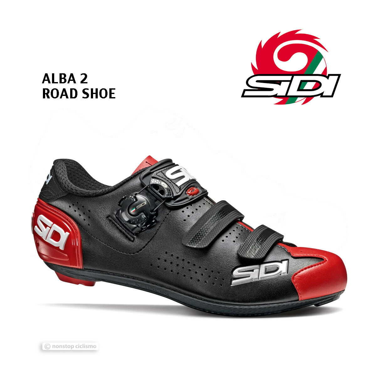 Neu 2020 Sidi Alba 2 Straße Fahrradschuhe: Schwarz/Rot