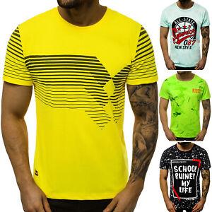 T-Shirt-Kurzarm-Mit-Aufdruck-Rundhals-Casual-Slim-Fit-Herren-OZONEE-12331-MIX