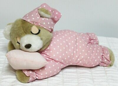 Cute Plush Sleeping Teddy Bear on Pillow Snoring Sound Stuffed Animal Toy Gift