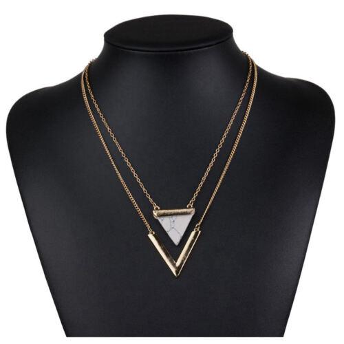 Femmes Punk colliers de l/'Inde géométrique E faux marble Stone Pendentif neckl K2Z6