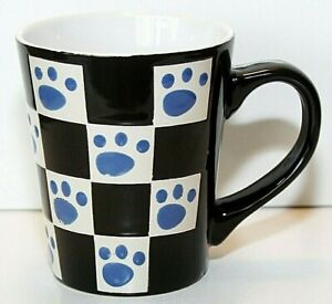 Pawprint Dog Cat Lover Ceramic Cup Mug Checkerboard Black White Blue EUC