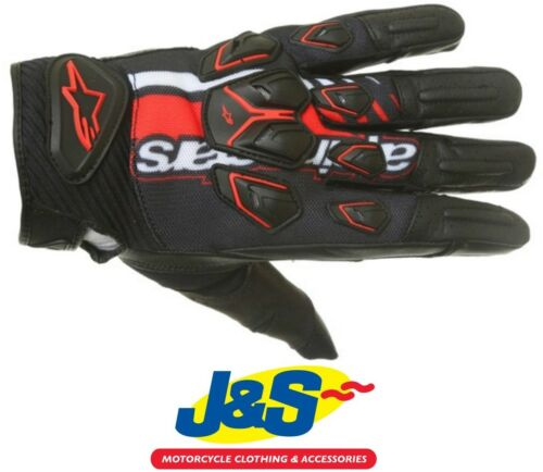 Alpinestars Masai Summer Motorcycle Gloves Motorbike Mesh Black Red White J/&S