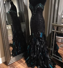 Mac Duggal Black Crystal Beaded Feather Evening Prom Pageant Gown SZ 0