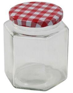 Glass-Preserve-Jars-Jam-Chutney-Honey-Jars-Tartan-Lid-Hexagon-Set-Of-12-x-280ml