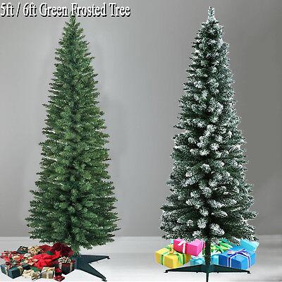 Slim Christmas Tree.Pencil Pine Slim Christmas Tree Artificial Green 4ft 5ft 6ft 7ft 8ft Green Frost Ebay