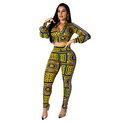 Dependable Women Sexy Totem Print Bodycon Night Club Crop Top V-neck 2 Pic Elegant Set Zg Orders Are Welcome.