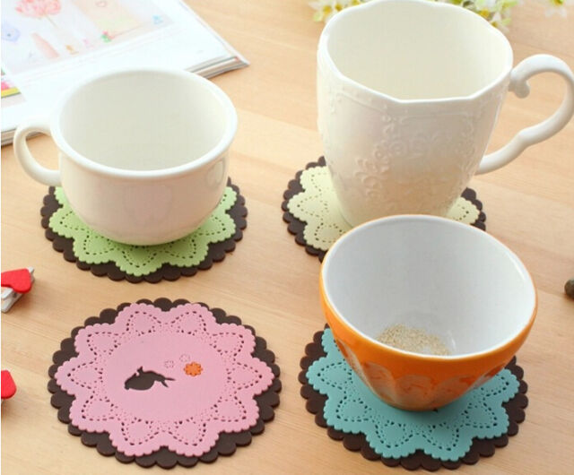 Lovely cute lace look silicone forest animal deer rabbit squirrel coaster