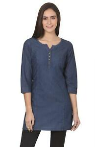 Women-039-s-Denim-Short-Kurta-Kurti-3-4-Sleeve-Casual-Wear-Dress-Plus-Size