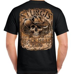 T-Shirt-Sturgis-2017-Rocker-Biker-Tattoo-Cowboy-Skull-Motorcycle-no-Harley
