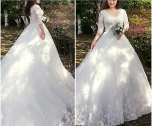 Plus-size-White-ivory-Wedding-dress-Bridal-Gown-custom-size-16-8-20-22-24-26-28