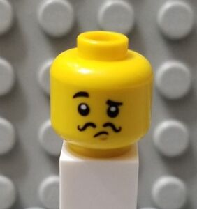 LEGO-New-Yellow-Minifigure-Head-with-Black-Thin-Curly-Moustache