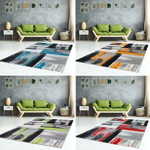 Tapis-Flachflor-SHAKE-MODERN-chine-en-Bleu-Orange-Vert-Rouge-Salon