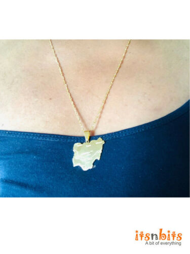 Gold Stainless Steel Nigeria Map Necklace Pendant /& Chain Nigerian Black Africa