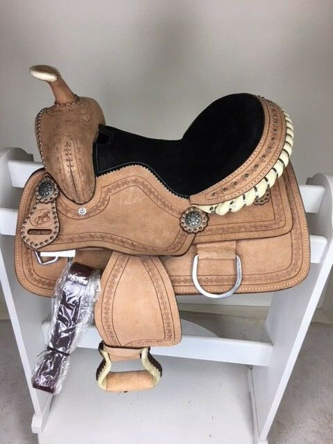 13   New Western Leather Youth  ld Kids Trail Barrel Horse Saddle  100% price guarantee