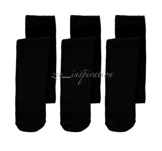 3x Girls Winter Thick School Tights Stockings Pantyhose (Black Navy Size 2-12)