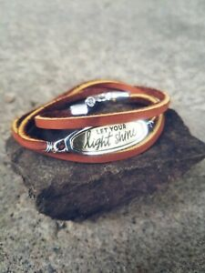 Handmade-unique-womens-brown-leather-bracelet-wrap-with-quote-034-let-your-light