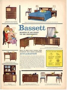 Details about 1958 Bassett PRINT AD Furniture Great Detailed Vintage Decor